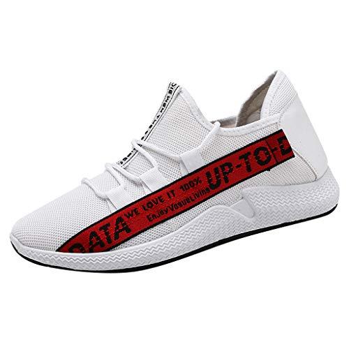 Anglewolf Herren Laufschuhe Sneaker Straßenlaufschuhe Sportschuhe Turnschuhe Outdoor Leichtgewichts Freizeit Atmungsaktive Fitness Schuhe rutschfest Trainer(rot,41 EU)