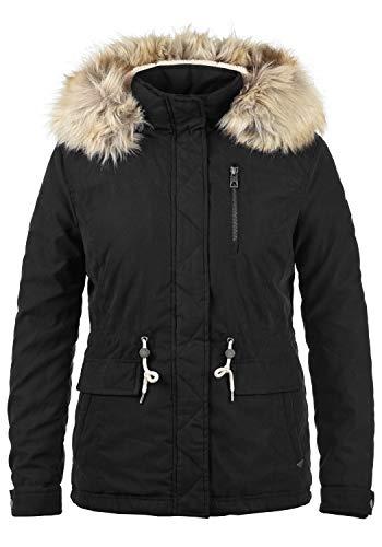 VERO MODA Fura Damen Winter Jacke Parka Winterjacke gefüttert mit Teddyfutter und Kunst-Fellkapuze, Größe:M, Farbe:Black -