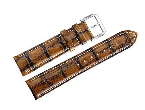 Korn Bronze (Seba5 Home 22mm Männer Einzigartige Besondere Vintage Uhrenarmbänder Antike Bronze Braun Leder Alligator Korn)