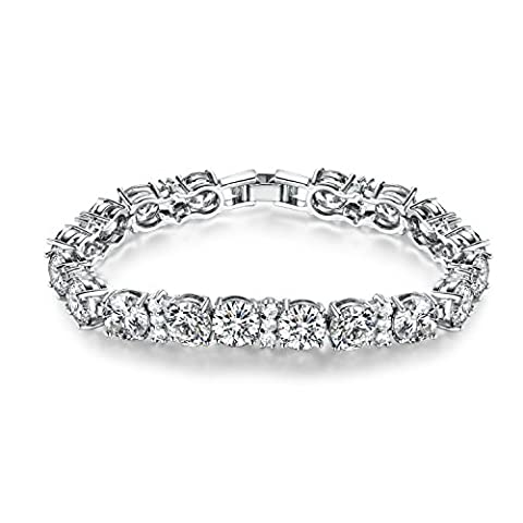 GULICX Ladies Cubic Zirconia Crystal Tennis Bracelets Clear White Gold Electroplated for Women Girls
