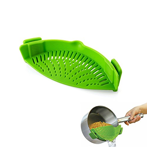 Joyoldelf Silicone Snap Strainer BONUS FREE Pour Spout and Collapsible Funnel – Clip-on Kitchen Colander Pan Drainer for Draining Food Water & Pouring Liquid Soup Oil, Fits Any Pots Pans Bowls, Green