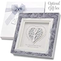 Silver Wedding Anniversary Gift Personalise With Names & Date Genuine Swarovski Crystals 25th Wedding Anniversary Frame Parents & Friends Optional Luxury Gift Box And Matching 25th Wedding Anniversary Card