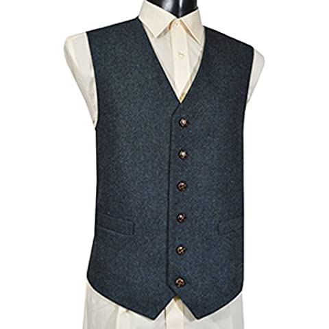 Gilet in Misto Lana, Tweed Fleck Blu -