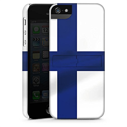 Apple iPhone 5s Housse étui coque protection Finlande Drapeau Drapeau CasStandup blanc