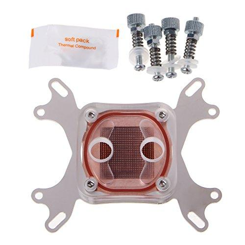 Yunso 1 Stück Computer Wasserkühlung CPU Block Head mit schnellem Twist Connector Kupfer 50mm Base (Transparent + Silber)