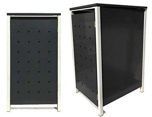 BBT@ | Hochwertige Mülltonnenbox für 3 Tonnen je 240 Liter mit Klappdeckel in Schwarz / Aus stabilem pulver-beschichtetem Metall / Ohne Stanzung / In verschiedenen Farben sowie mit unterschiedlichen Blech-Stanzungen erhältlich / Mülltonnenverkleidung Müllboxen Müllcontainer - 3