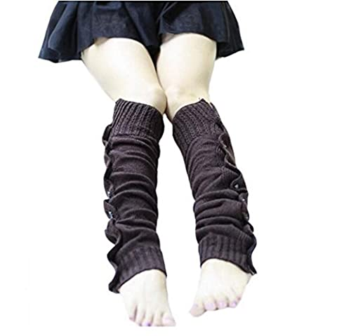 Vovotrade Femmes Chic Tissage Extensible Bottes Legging avec Boutons Chaud et à la mode (Café)