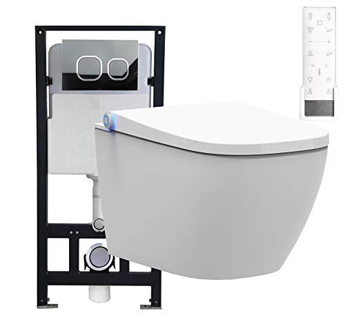 Bernstein Glas-modell (WC-Komplettpaket 26: BERNSTEIN DUSCH-WC PRO+ 1104 und Soft-Close Sitz mit Vorwandelement G3004A und Betätigungsplatte vorne, Betätigungsplatte:Modell weiß Glas)