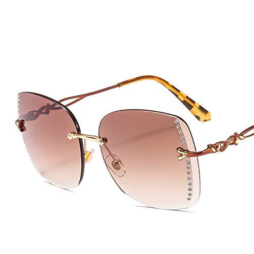 HQMGLASSES 2019 Damen Rahmenlose Sonnenbrille Rechteckiger Rahmen Strass Abgeschrägte Spiegel Sonnenbrille UV-Schutz 400 Schutzbrille Geeignet für Fahren/Freizeit,Brown