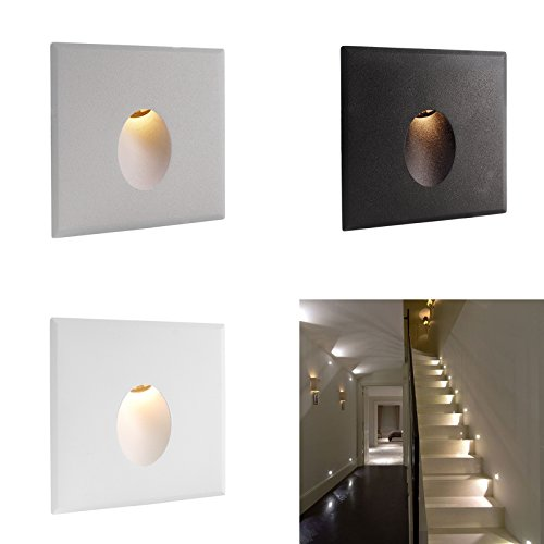 LED Kennzeichenbeleuchtung 2.2w für Treppen Flur Einbaustrahler Innenbeleuchtung - Warmweiß Finish Silber satiniert