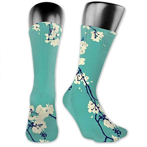 Cherry Blossoms In Aqua Modern Japanese Floral Men's & Womens Athletic Full Crew Socks Running Gym Compression Foot (Kostüm Cherry Blossom)