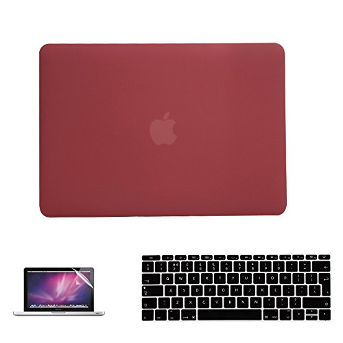 i-Buy 3in1 Kit Matte Hard Shell Case + Keyboard Cover + Screen Protector for Apple Macbook 12 inch with Retina Bildschirm (Model A1534) - Rotwein