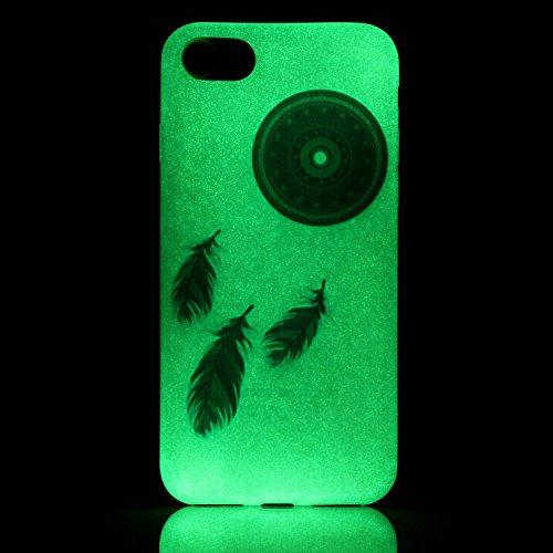 iPhone 7 (4.7 Inch) Luminous Hülle (Mit Frie HD Displayschutzfolie) Leuchtende Silikone Rückhülle Für iPhone 7 4.7'' Silikon Gel Etui Handy Hülle Weiche Transparente Luminous TPU Back Case Tasche Scha Blaue Traumfänger