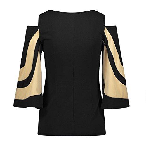 AIMEE7 Femmes Manches Longues Épissage sans Bretelles Trompette Manches Chemise T-Shirt Noir