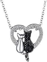Moda Pareja Amante De La Forma Del Corazon Del Diamante Del Gato Blanco Negro Collar Colgante