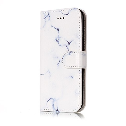 Cover Custodia Per iPhone 7 / 8, iPhone 7 Cover a libro, iPhone 8 Custodia a Portafoglio, Surakey Vintage Shock Assorbimento Paraurti iPhone 7 Cover in Pelle Protettiva Flip Portafoglio Custodia Cover Marmo Bianco