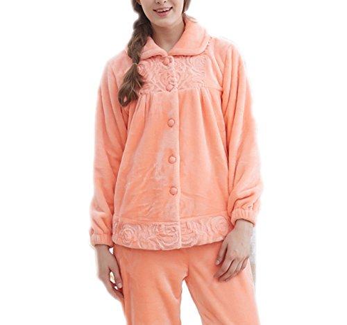 QPALZM Donna Autunno E Inverno Pigiama Oscuro Morbido Temperamento Servizio Domestico Due Maniche Lunghe Manica Lunga Vestito Ispessendo I Pigiami Caldi Orange