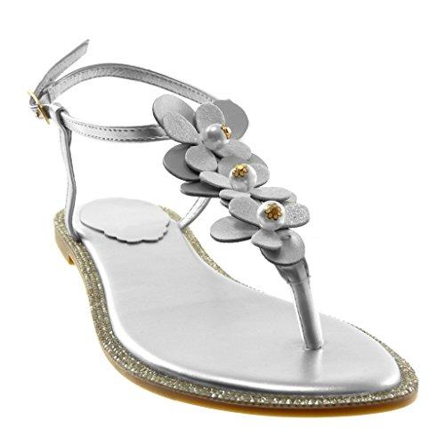 Angkorly Chaussure Mode Sandale Tong Lanière Cheville Salomés Femme Fleurs Perle Strass Talon Bloc 1 CM Argent
