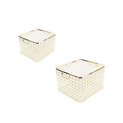 2PCS Bauernhaus Dekor Lebensmittel Aufbewahrungsbox, Edelstahl Drahtkorb, mit Griffen, für Küchenschränke, Speisekammer, Bad, Waschküche, Schränke, Garage -