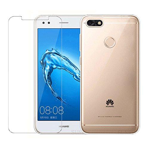 LJSM Hülle Huawei Y6 Pro 2017 / Huawei P9 Lite Mini Transparent + Panzerglas Displayschutzfolie Transparent Hülle Weich Silikon Schutzhülle (5.0