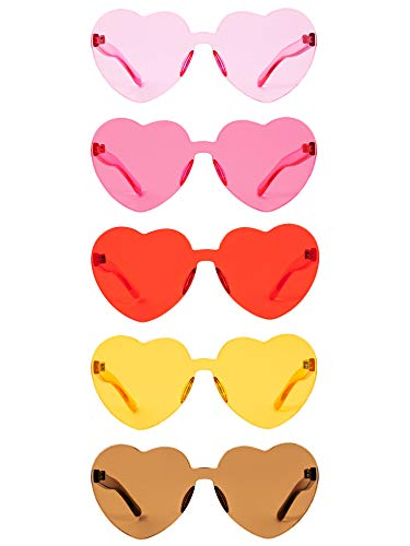 Herz Geformt Liebe Randlos Sonnenbrille Ein Stück Transparent Süßigkeiten Farbe Rahmenlose Brille Getönte Brillen (5 Paare Farbe E)