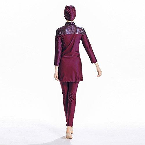 ziyimaoyi konservative Muslimische Bademode Islamischer Badeanzug Frauen Hijab Bademode volle Abdeckung Bademode Muslim SurfBeachwear Badeanzug, rot, M - 6