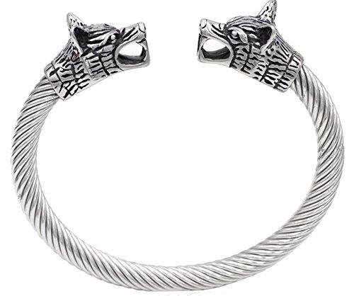 Herren Edelstahl Doppelkopf Viking Odin Wolf Tier Armband poliert