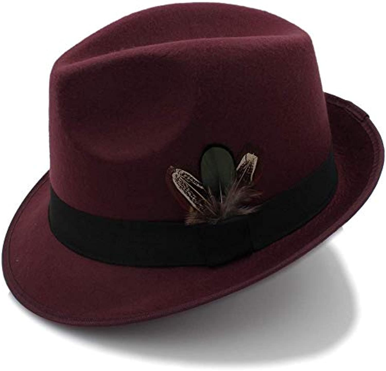 Qsoleil Cappello in Comodo Cappello Uomo Vintage Feltro in Cappello Feltro  di Lana Cappelli con Piume a4c47ee3b6e7
