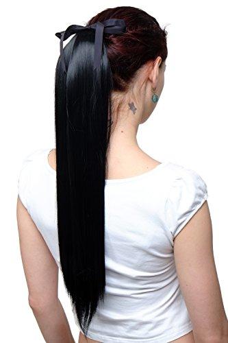 WIG ME UP - Haarteil Zopf Pferdeschwanz Haarverlängerung Schwarz glatt fallend Befestigung mit Bändchen & Klammer ca. 60cm C9429-1