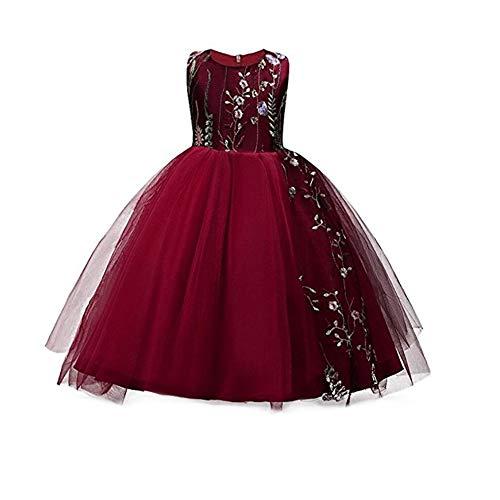 ZYCX123 Prinzessin Belle Kostüm Deluxe Partei-Abendkleid Up Sleeveless Spitze Blumen-Kleid für Mädchen 140 ()