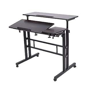 Lacyan r glable hauteur bureau ordinateur de bureau multi fonction portable noir - Hauteur standard bureau ordinateur ...