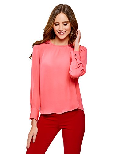 oodji Ultra Damen Lässige Bluse mit Tropfen-Ausschnitt Am Rücken, Rosa, DE 38/EU 40/M (Zeigen Eleganz Langarm-shirt)