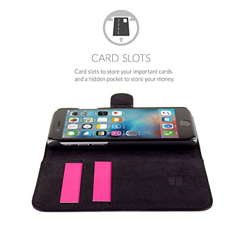Snugg - Custodia Rosa A Libretto In Ecopelle Con Garanzia A Vita Per Apple Iphone 6S Nero