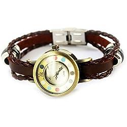 Armbanduhren Quarz Analog Keine Ziffern - Farbe Leder Modeschmuck Uhr Damen rund Pucks Moli 6 Braun Geschenk Damen