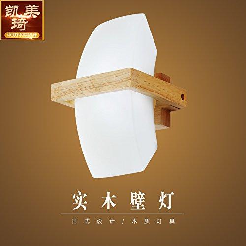 BESPD Nordic solide Wood-Japanese Wandleuchten Wohnzimmer Schlafzimmer Flur Leseraum Treppenhaus 12 * 20 * 12 Cm (G 9 weißes Licht - -