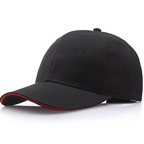 Baseball Cap Basecap Piebo Unisex Baseball Kappen Baseball Mützen für Draussen Sport oder auf Reisen Reine Farbe Baseboard Baseballkappe Kappe Mütze (Schwarz 2) -