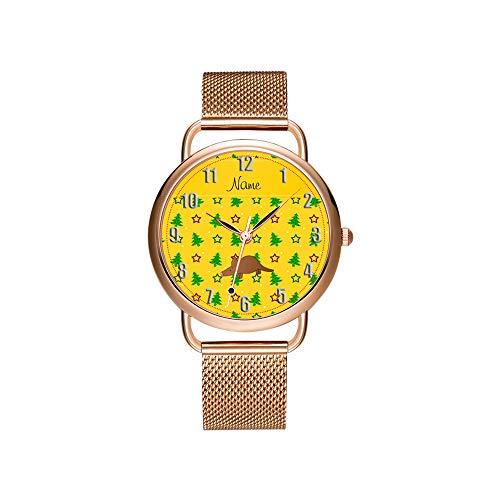 amen Mesh Gürtel Ultradünne Uhr wasserdichte Uhr Quarzuhr Weihnachten Benutzerdefinierte Name Aardvark gelb weihnachtsbäume Sterne Uhr ()
