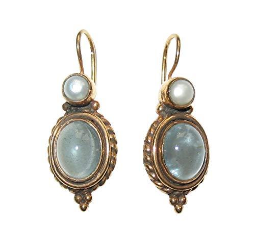 Aquamarin-Ohrringe grau-blau echte Süßwasser-Perle Hänger verschließbar Silber vergoldet Handarbeit Unikat Italien Geschenk für Frauen Luxus Retro Vintage