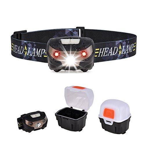 Upgrow Stirnlampe LED Wiederaufladbare LED Kopflampe, 130LM, Wasserdicht, Eingebaut 1200mAh Batterien, Perfekt LED-stirnlampe für Camping, Radfahren, Outdoor, Wanderungen und Sport, mit USB Kabel