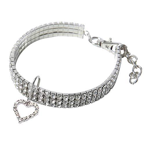 EUCoo Hundehalsband Haustier Hund Mini Kristall Strass Blume HerzföRmige Hund Halskette Schmuck Kleine Hund Haustier Halskette(Weiß, M)