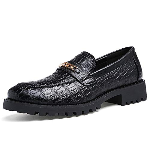 Leder Oxford Herrenschuhe Formale Überschuh Metall dekorative Mode Textur (Color : Slip on Black, Größe : 40 EU) -