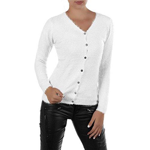 FASHION BOUTIK gilet cardigan duveteux a poils femme sexy 36 38 40 42 Blanc