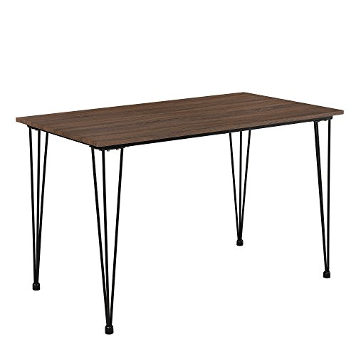 [en.casa]®] Mesa estilosa de Comedor Efecto Madera (120cm x 70cm x 75cm) Pata de Horquilla Hairpin Leg