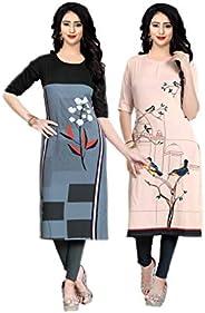 Navlik Women's Crepe Stitched Kurta Combo Pack of