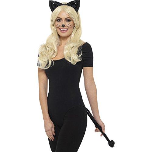 Amakando Katzenohren Haarreif - schwarz - mit Ohren und Schwanz Katzenkostüm Accessoire Katzenschwanz Catwoman Kostümzubehör Katzen Kostüm ()