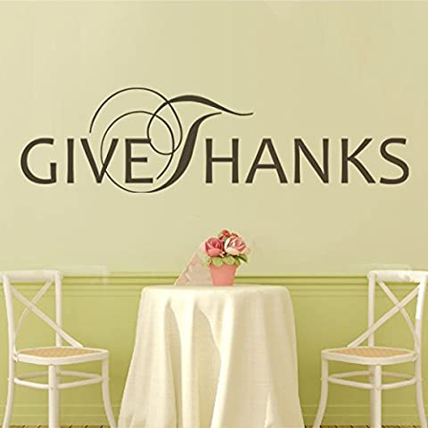 Give Thanks Vinyl Wall Decal Thanksgiving Wall Quotes Wall Stickers Sayings Wall Graphic Wall Mural Home Art Decoration