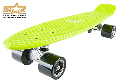 STAR-SKATEBOARDS® Vintage Cruiser Board ★ 22er Diamond Class Edition ★ Gecko Grün & Teuflisch Schwarz -