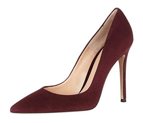 EDEFS Klassische Damen Pumps,Spitz Stilettos Hochzeit Schuhe,Elegant Wildleder Pumps Burgundy