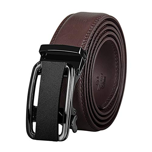Preisvergleich Produktbild Tiners Herrengürtel Fashion Trend Ledergürtel Automatische Schnalle,  Langlebig Und Elegant Für Anzughosen, Brown, 115cm