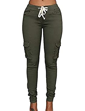 Mujer Pantalon Cargo Elegantes Elásticos Skinny Lápiz Largo Pantalon Joven Bastante Unicolor Taille con Correas...